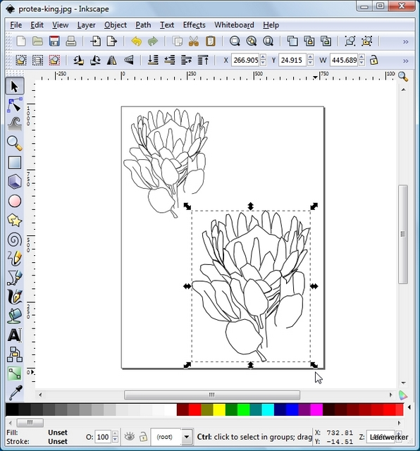 A Screenshot of the program with a completed line drawing.